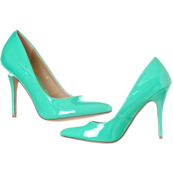 Women's Riverberry Women's Gaby Pointed Closed Toe Stiletto Pump Heels... ($29) ❤ liked on Polyvore featuring shoes, pumps, green, pumps & heels, patent pumps, closed-toe pumps, patent leather pumps, mint pumps and mint green shoes