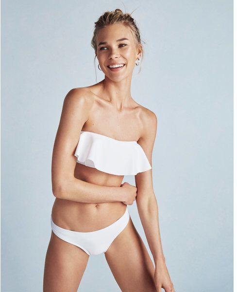 Express asymmetrical ruffle bandeau bikini top