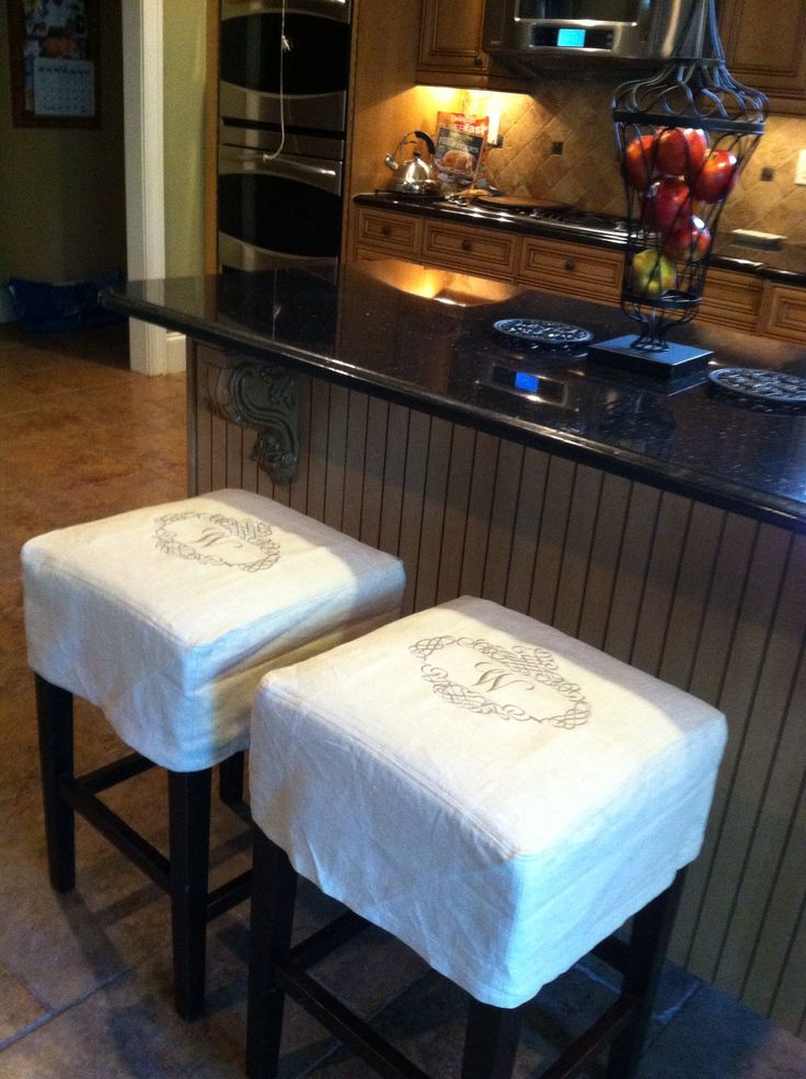 Monogram Bar Stools Could Make These With Drop Cloth