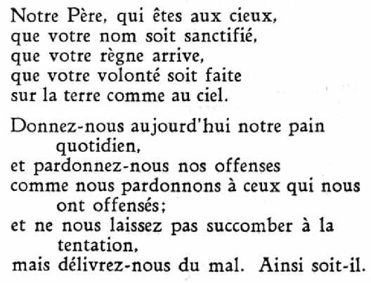 The Lord's Prayer in French