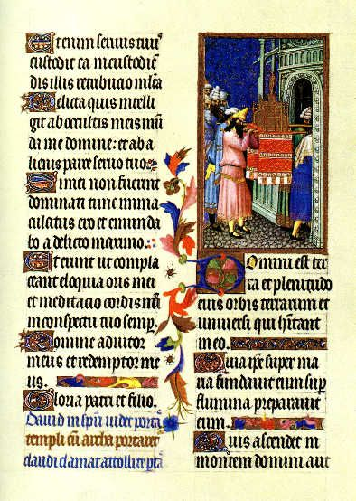The miniature by the Limbourgs illustrates a verse from Psalm XXIII: Lift up your gates, O ye princes, and be ye lifted up, O eternal gates: and the King of Glory shall enter in.