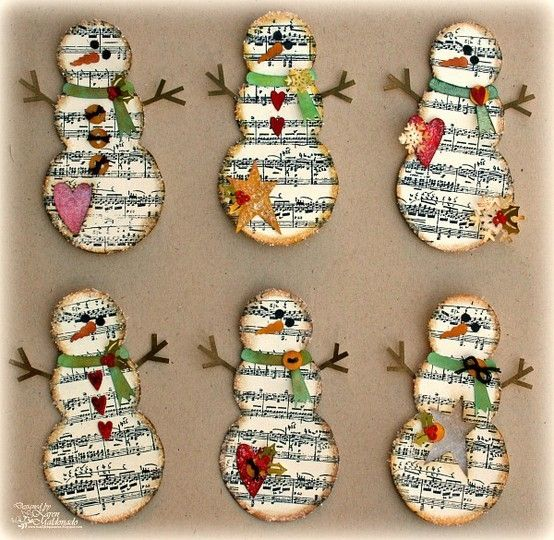 Music Sheet Snowmen, would make adorable Christmas ornaments