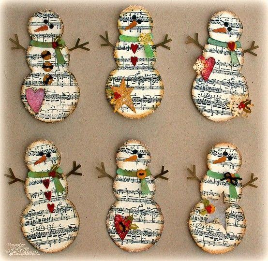 Music Sheet Snowmen, would make adorable Christmas ornaments