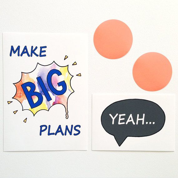 Make Big Plans Boys Art Typography Quote Wall by FizzyLimeCreative