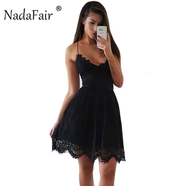 FREE SHIPPING Party Dress Sleeveless Lace-up Backless V Neck White Black 142