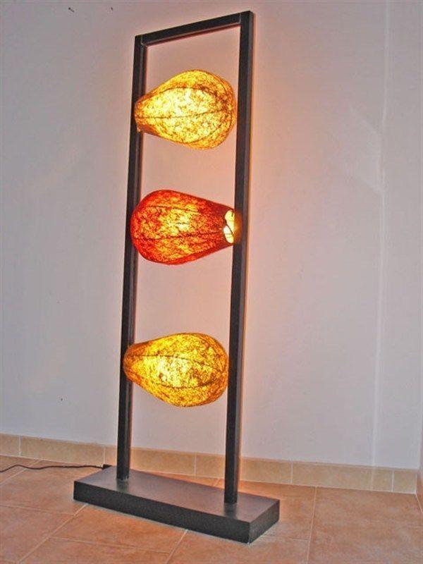 ESCLUSIVA LAMPADA DA TERRA ARREDAMENTO DESIGN ETNICO 140X60X20 CM
