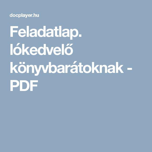 Feladatlap. lókedvelő könyvbarátoknak - PDF