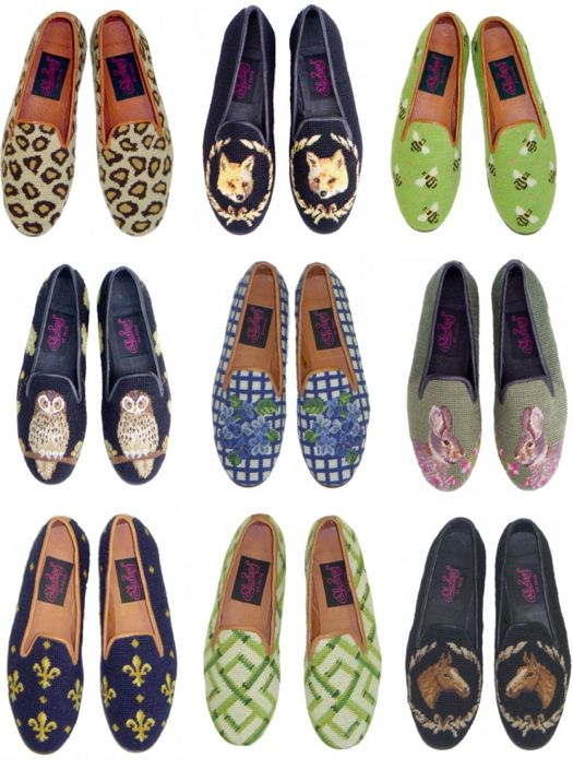 Needlepoint loafers- I can't decide which I like best.