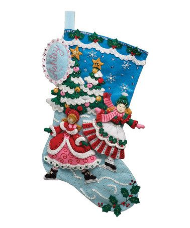 Skaters Stocking Embroidery Kit by Bucilla #zulily #zulilyfinds