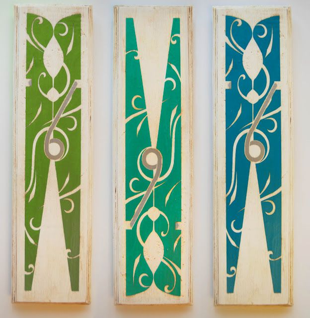 DIY Antiqued Clothespin Art perfect for the laundry room(Burton Avenue)- this is a vinyl decal you can make or buy, then mod podge onto wood.