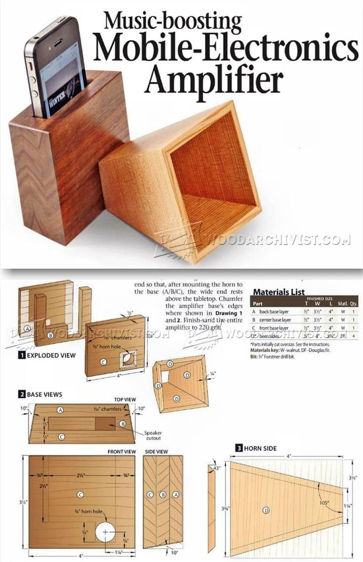 DIY Iphone Amplifier - Woodworking Plans, Woodworking Projects | WoodArchivist.com