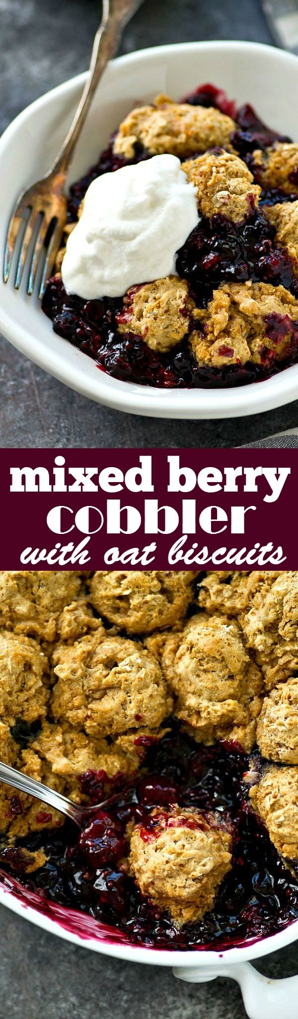 Check out Mixed Berry Cobbler with Oat Biscuits. It's so ...