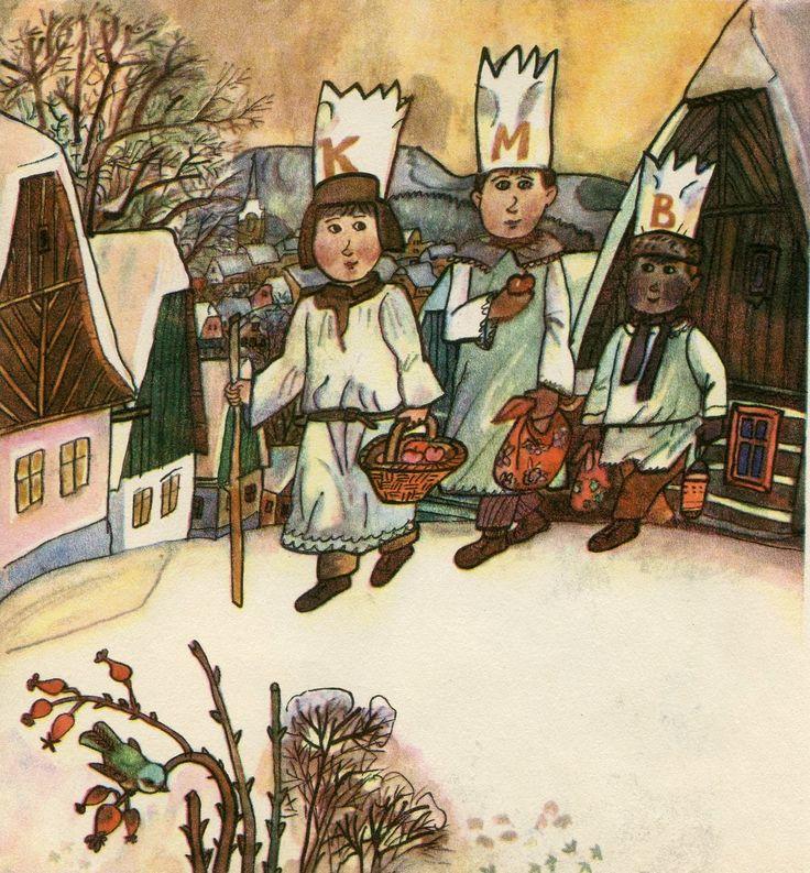 January 6th - the Epiphany - boys dress up as the Three Kings, make chalk initials on people's doors K+M+B (Kasper-Melchior-Balthazar). Leden – 6. ledna na Tři Krále chodíkluci po domech a malují křídou K+M+B (Kašpar-Melichar-Baltazar)