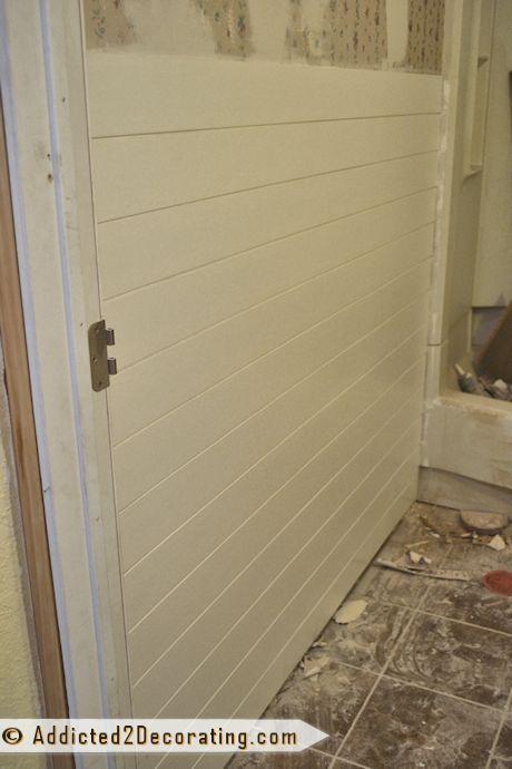 Lighting Basement Washroom Stairs: Faux Wood Plank Walls, Part 2