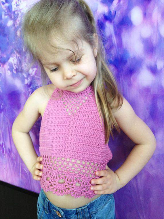 Pink Crochet Toddler Crop Top/ Bohemian crochet top/ Baby top/