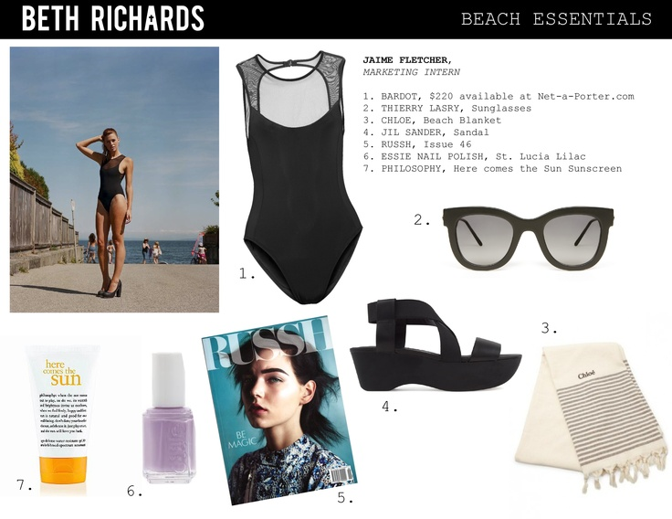 Our Marketing Intern Jaime will be hanging at the beach with these summer essentials.         The featured Bardot suit is available at Net-A-Porter.com http://www.net-a-porter.com/product/196521