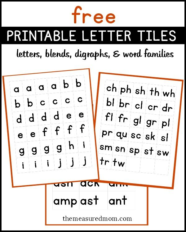 Free printable letters, digraphs, blends, and word endings from The Measured Mom