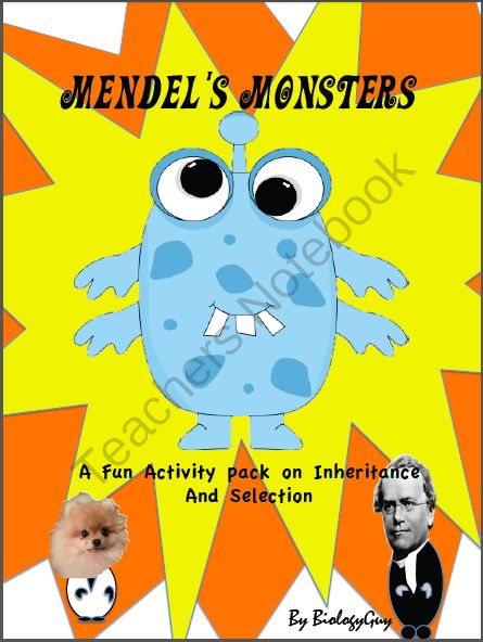 HEREDITY, PUNNET SQUARE ACTIVITIES from THE SCIENCE CORNER on TeachersNotebook.com (30 pages)  - HEREDITY 30 page activity notebook, Mendel's Monsters Interactive notebook, punnett squares, punnet squares, Gregor Mendel, genetics, inheritance, pea plants, inheritance, dominant traits, recessive traits, monsters, fun genetics, genetics lab, inher