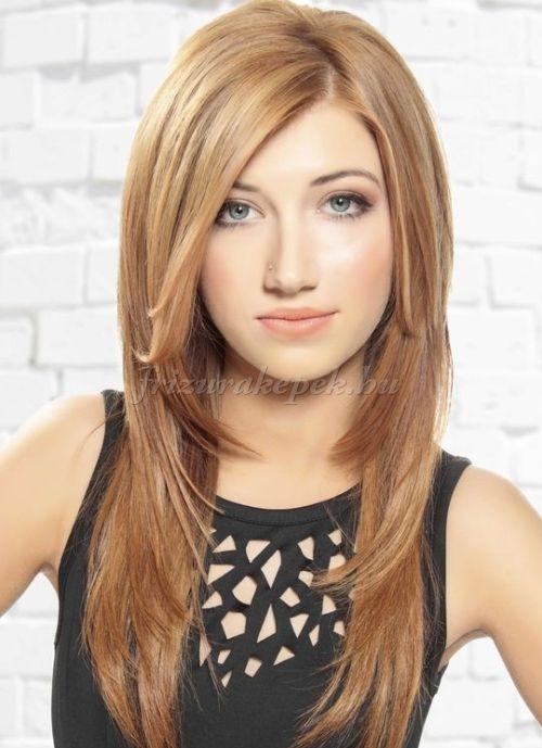 frizurák hosszú kiengedett hajból - lépcsőzetesen nyírt frizura hosszú hajból