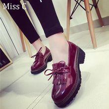 Dulce de corea del arco mujeres dedo del pie redondo Vintage Oxfords Fringe Decor tacón de plataforma baja plana zapatos mocasines casuales WFS84(China (Mainland))