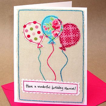 Personalised Balloons Girls Birthday Card  by Jenny Arnott