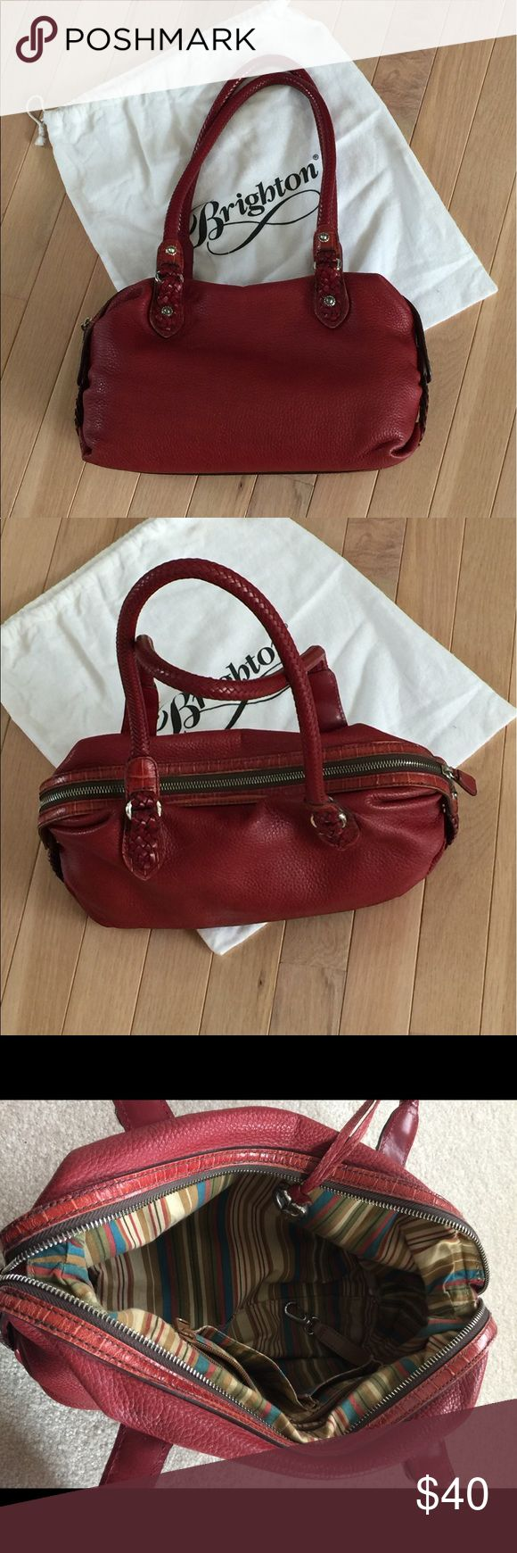 Red Brighton Shoulder Bag Red Brighton shoulder bag recently cleaned and conditioned at Brighton Store. There are three pockets inside (one large zippered and two open pockets). Also a key clip. Gently used and in good condition. Brighton Bags Shoulder Bags