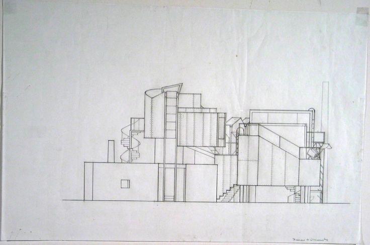 Jesse Reiser, Nanako Umemoto. Aktion Poliphile: Hypnerotomachia Ero/machia/hypniahouse, project, Wiesbaden, Germany, Southeast elevation. 1989