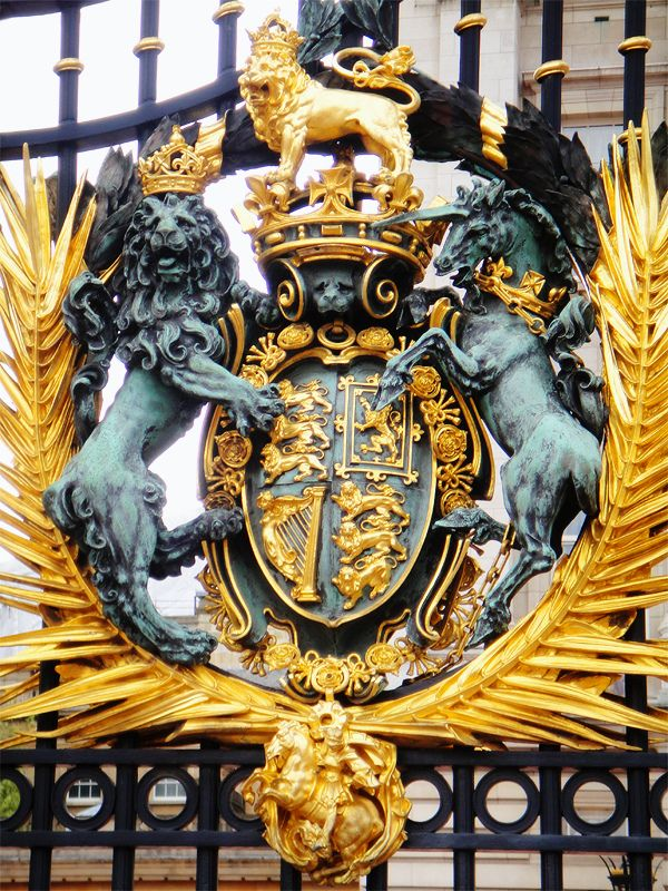 British Royal Coat of Arms on the Buckingham Palace gate, London