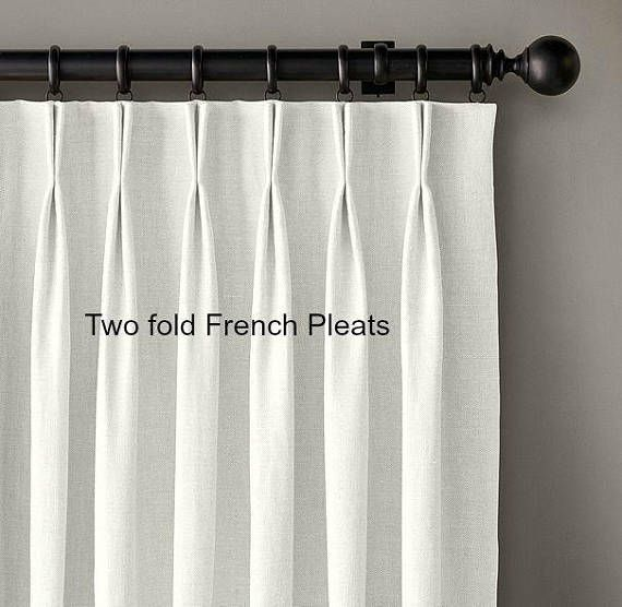 Pair Prism Silver Grey Linen Curtains 27w 103l Pleated Etsy Pinch Pleat Curtains Custom Drapes Pleated Curtains