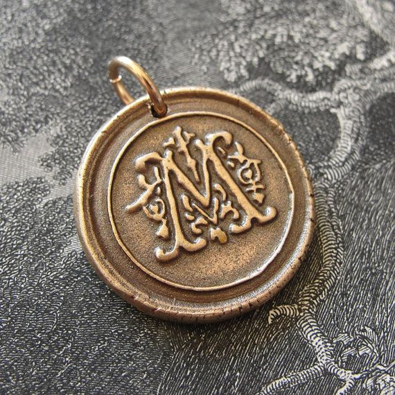Initial M  wax seal charm in bronze  modern monogram by RQPStudio, $33.00