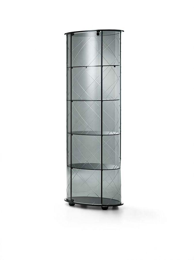 Burberry Veblén  Burberry  Design: Marzia e Leonardo Dainelli  Stellen Sie in 6 mm-starkem gebogenem Glas mit vier festen Ablagen in 6mm Glas geätzt. Rauchglasplatte 12mm, Base Rauchglas 12mm schwarz zurück. Aluminiumprofile mattschwarz lackiert. Tür mit Schloss. Leuchte (optional) kann ebenfalls unter der oben platziert werden. Körperschaufenster und Regale in Rauchglas oder Bronze.  http://www.storeswiss.com/de/prod/anrichte/burberry-veblen.html