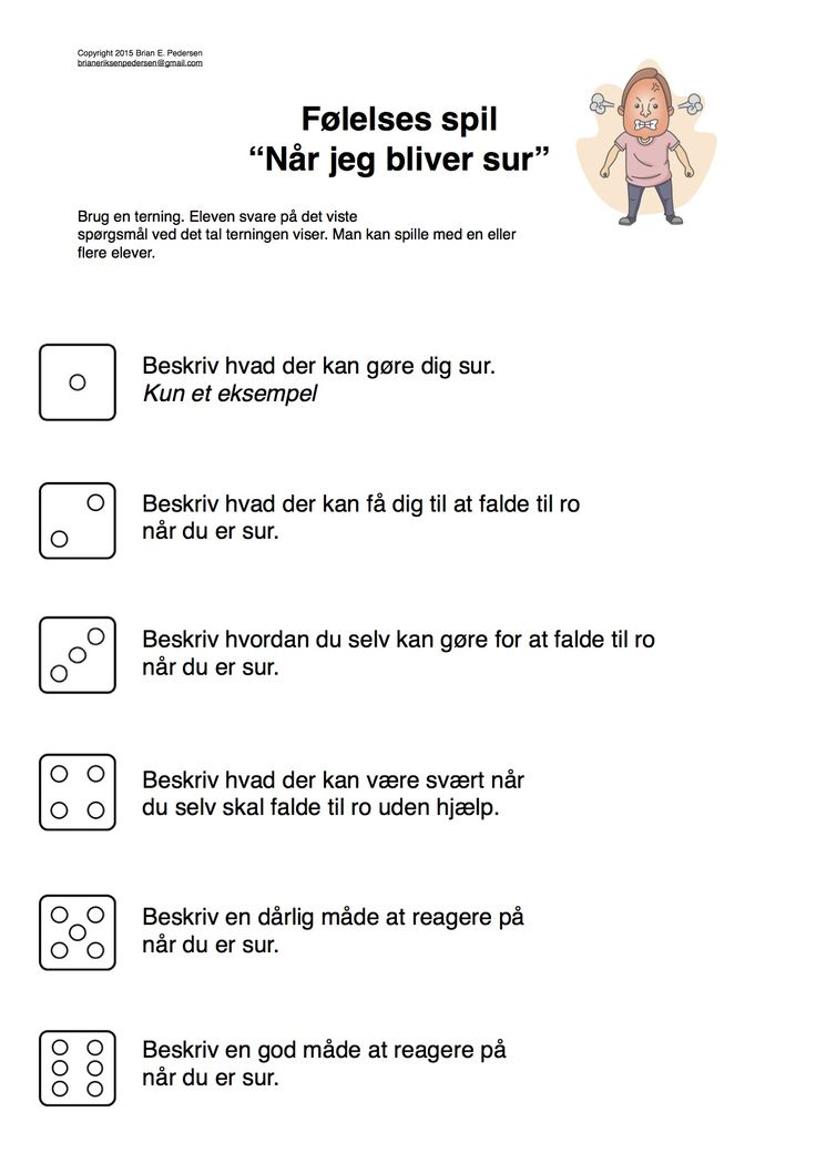 """Et lille spil hvor eleverne taler om """"at blive sur"""" Hvordan man reagere osv. Brug en terning. Man kan også lave sin egen f.eks """"når man bliver ked"""" """"når man driller"""" osv"""