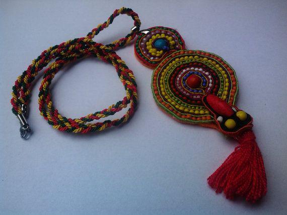 Mexican Pendant Ethnic pom pom Necklace by JewelleryByKassandra