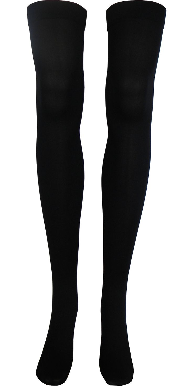 Solid Opaque Thigh High in Black