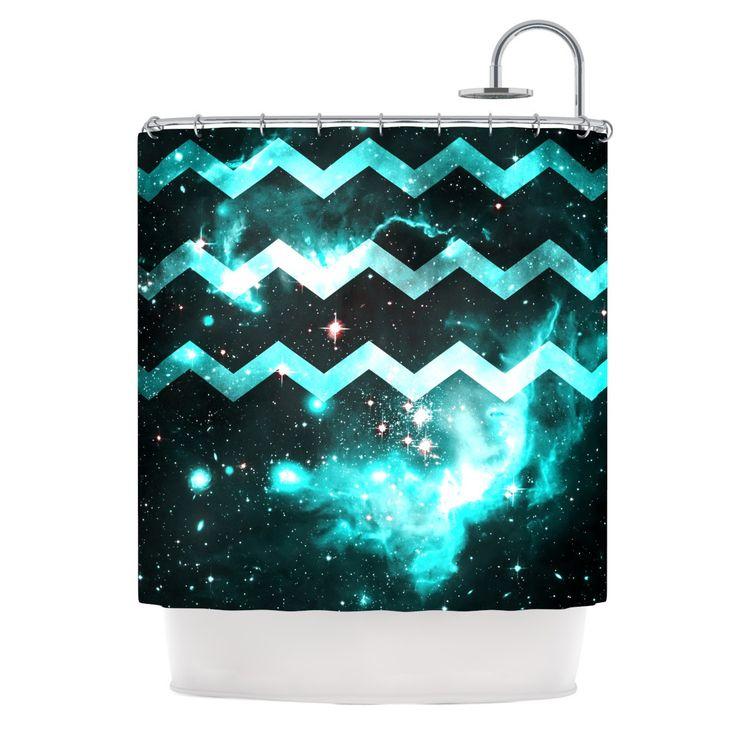 Alveron Aqua Galaxy Chevron Shower Curtain