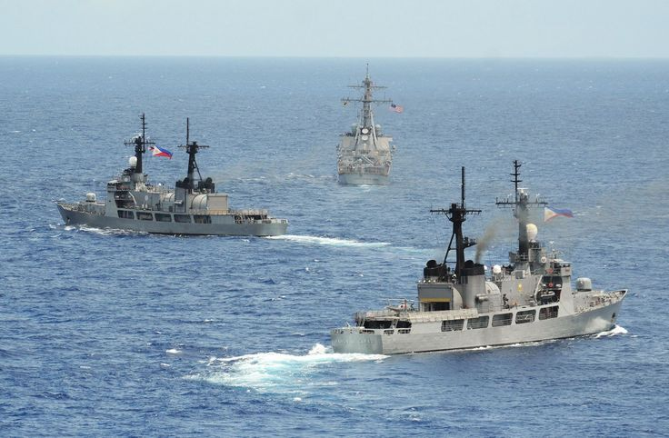 The Philippine Navy frigates BRP 'Gregorio del PIlar,' left, and 'Ramon Alcaraz' sail with the U.S. Navy destroyer USS 'John S. McCain.' U.S. Navy photo