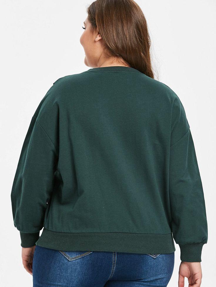 Plus Size Drop Shoulder Eeylet Sweatshirt