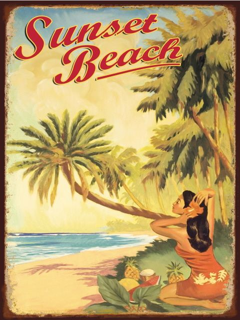 vintage style hawaiian signs throng together