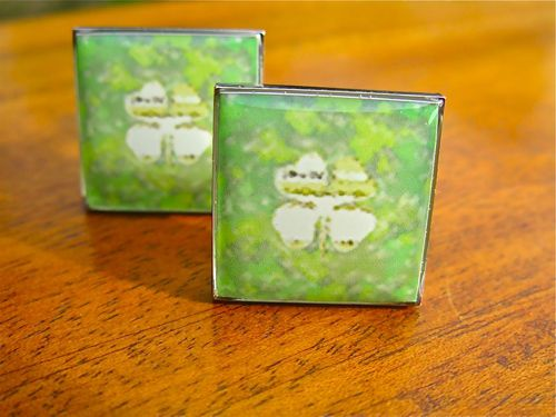 Lucky 4 leaf clover cufflinks