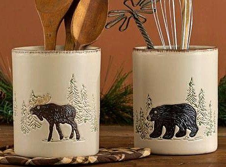 Bear Decorating Theme for Kitchen | rustic stoneware moose bear utensil utility crock $ 24 00
