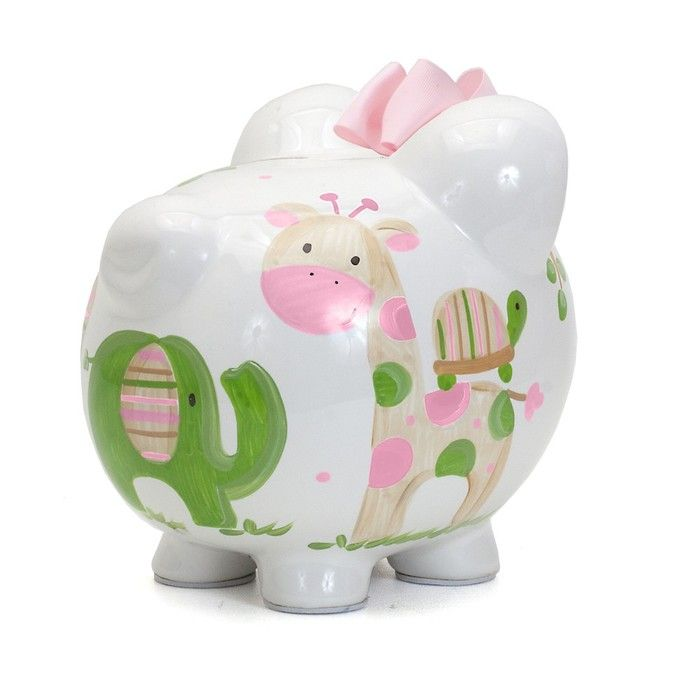 Tropical Jungle Animals Large Piggy Bank for Girls (Personalization available) :: For That Occasion
