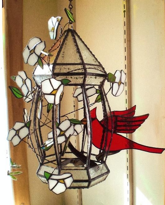 Hanging Gazebo - This is a 3-dimensional hanging stained glass piece. The Hanging Gazebo with Cardinal is about 15 inches tall. It is made with mostly Spectrum Glass.  Amber Martin-AmberLyn's Stained Glass   Milford, Maine