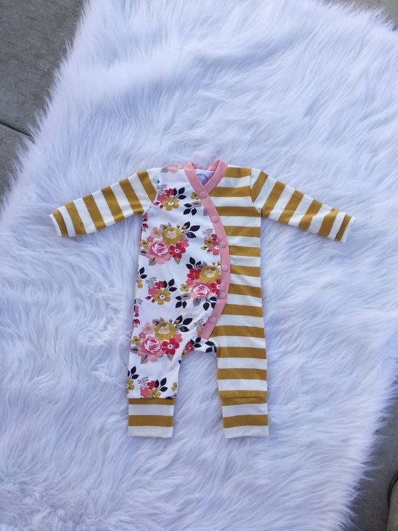 Baby Girl Romper / Coming Home Outfit / Baby Shower Gift / Gifts for Girls / Modern Baby Girl Clothes /  Newborn Girl Outfit / One Piece