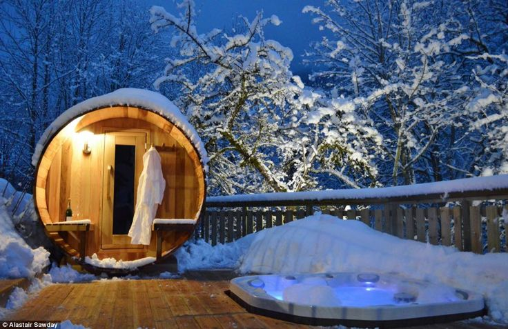 Holiday luxury: What better place to warm up than this bubbling hot tub at Chalet Twenty26...
