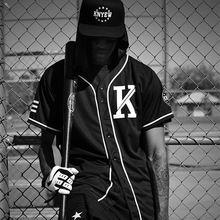 Moda Unisex de Hip Hop de la vendimia Allover Camiseta de Béisbol Jersey Nuevo venir Peplum tops Negro de la camiseta Ropa de Los Hombres Camisetas ropa hombres Tops Camisa masculina
