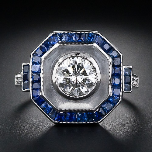 Art Deco Style Diamond, Sapphire and Frosted Crystal Ring