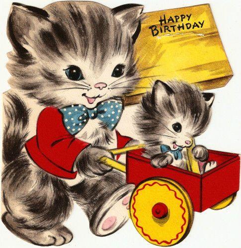 Vintage Birthday Scrap Card Cat Kitten