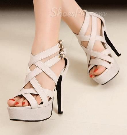 New Arrival Geuine #Suede #Cut-Outs High #Heel #Sandals