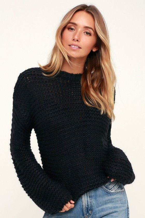 f8246e7ff5 The Black Swan Kyla Black Balloon Sleeve Knit Sweater is sure to be your  cup of tea! This soft