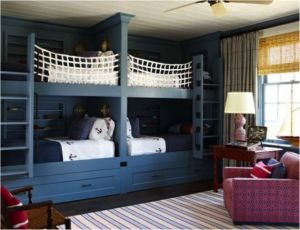 blue ship themed bunk beds for kids
